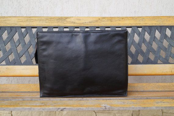 Vintage Black Real Leather Portfolio. Leather by vintagdesign