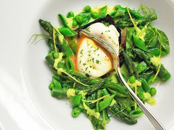 Recipe: How To Put Spring On A PlateFresh Eggs, Snap Peas, Brown Sugar, Lemon Zest, Zest Vinaigrette, Serious Eating, Poached Eggs, Spring Salad, Asparagus Recipe