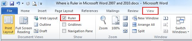 Where is the Ruler in Microsoft Word 2007, 2010, 2013 and 2016