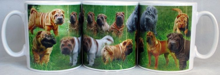 Chinese Shar Pei Mug Ceramic Collage Scenes Shar Pei Mug Cup Hand Decorated UK #Unbranded #Contemporary