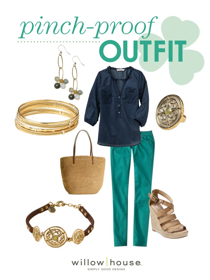 Gold and Green,     Pinch-Proof Outfit - jeans and shoes from Target, shirt from Old Navy and bag from J. Crew.  Bling from Sara Blaine jewelry collection.  Check it out at www.jenshomegems.willowhouse.com