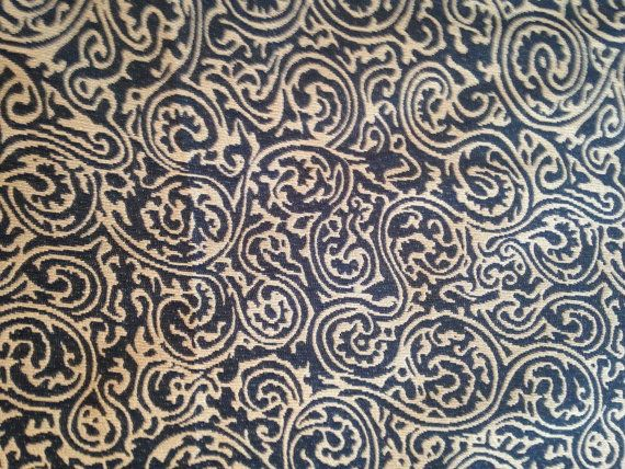 Blue & Tan Swirl Paisley Curtain Upholstery Fabric by the