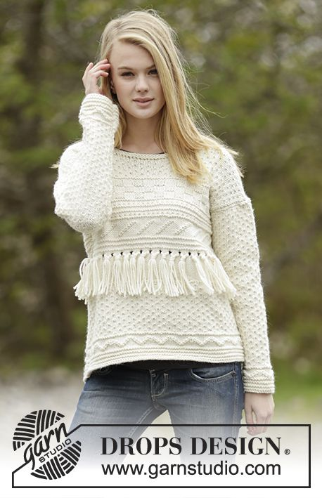 """Knitted DROPS jumper with textured pattern and fringes in """"Alaska"""". Free Pattern"""