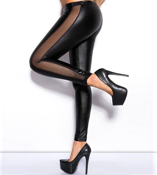 Legice Chiara so sestavljene iz kombinacije tkanine svelenag sijaja in prosojne tkanine na zunanjih straneh hlačnic.