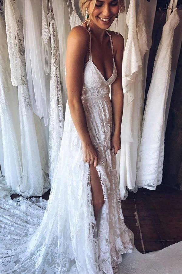 207ef113ef4a Backless Court Train Bridal Dress,Lace Beach Wedding Dress,V-Neck  Criss-Cross Wedding Gowns,Wedding Dresses by Miss Zhu Bridal, $169.00 USD  #Weddingtips
