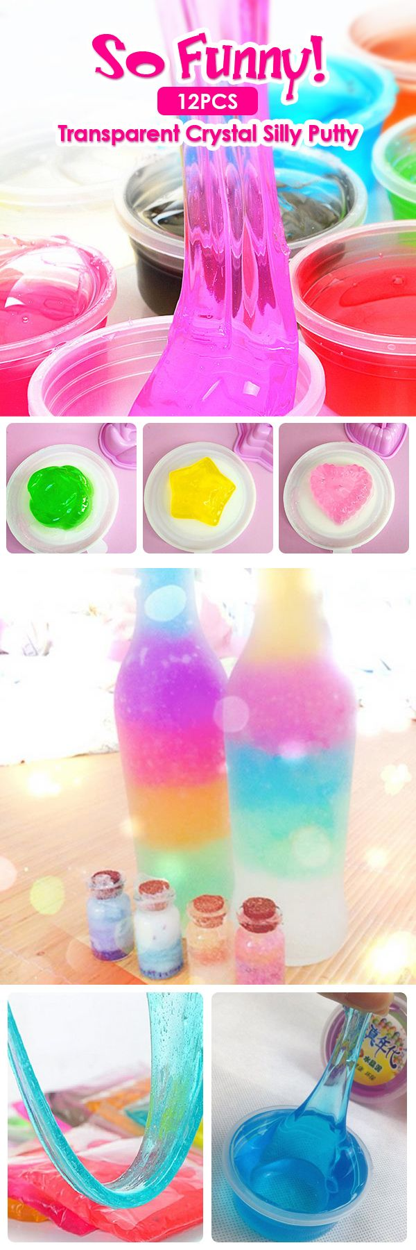 How to get the rainbow slime in 1 minute? $6.99 12Pcs Putty Crystal Slime Jelly Mud Slime Ramen Squishy Pressure Release Toys Children Educational Toys
