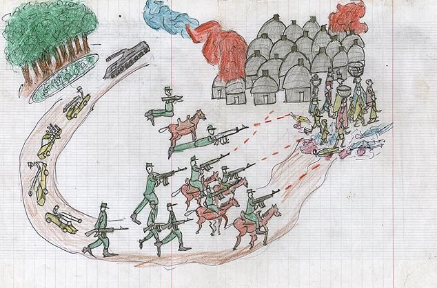 Drawing by Darfuri refugee child, Bakhid Abdalhadi Adam, showing an armed assault on a village (2007).