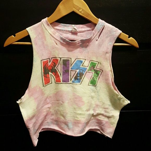 Pastel Kiss top Tie dye Kiss crop top. Pastel colors. Slits down the back. So cute!! Pair with shorts and hit the outdoors! Rock n roll! Strutter! KISS! Tops Crop Tops