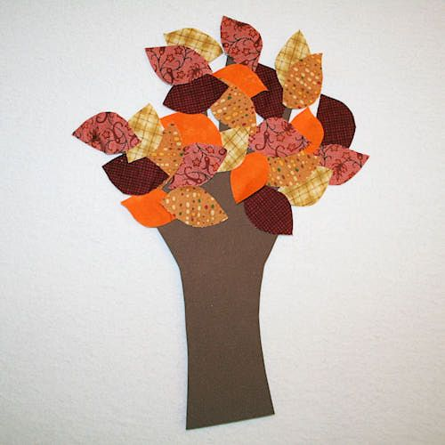 fall+crafts | Fall Fabric Tree - How to Make a Colorful Fall Tree Craft - Handprint ...