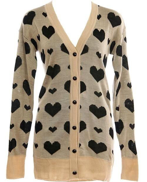 Heart Print Cardigan: Features a V-neckline framed by long ribbed-cuffed sleeves, contrast black heart print covering the front and back, beautifully shiny black buttons cascading down the placket, and a sweet ribbed hem to finish.: Shiny Black, Heart Prints, Black Heart, Black Buttons, Prints Cardigans, Cute Cardigans, Contrast Black, Sweet Ribs, Prints Covers