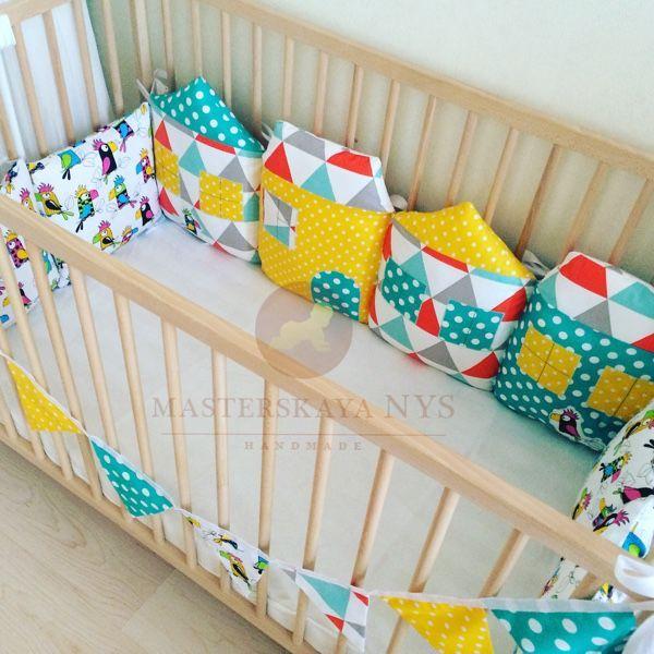 Купить Бортики домики и подушки попугаи - бортики в кроватку, бортики, бортики в детскую кровать