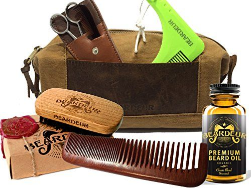 Ultimate Men's Beard Grooming Set With Boar Bristle Brush, Comb, Mustache Comb, Conditioner & Premium Toiletry Bag & BONUS Beard Trimming Scissors –All-Inclusive Facial Hair Gift Bundle. For product & price info go to:  https://beautyworld.today/products/ultimate-mens-beard-grooming-set-with-boar-bristle-brush-comb-mustache-comb-conditioner-premium-toiletry-bag-bonus-beard-trimming-scissors-all-inclusive-facial-hair-gi-2/