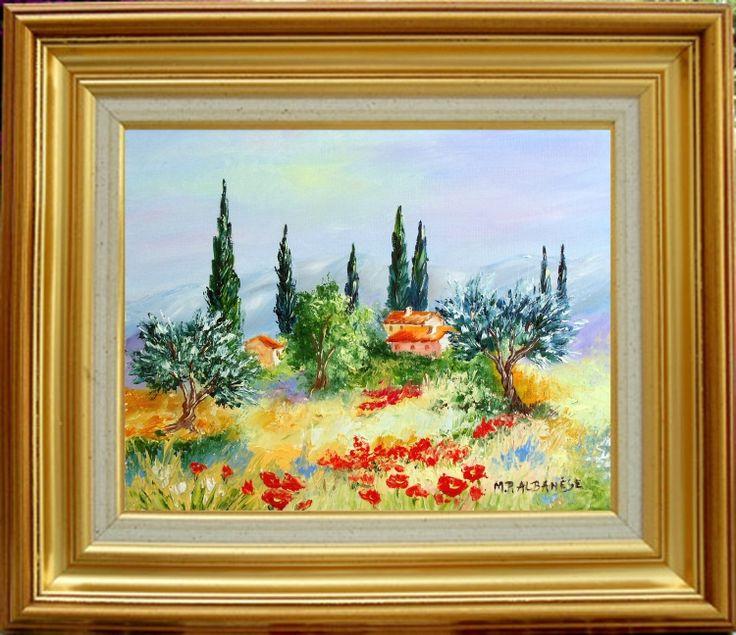 Tableau peinture tableaux de provence coquelicots olivier for Peinture a tableau