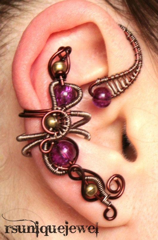 OAAk wire wrapped glass ear cuff by rsuniquejewel on Etsy, $25.00