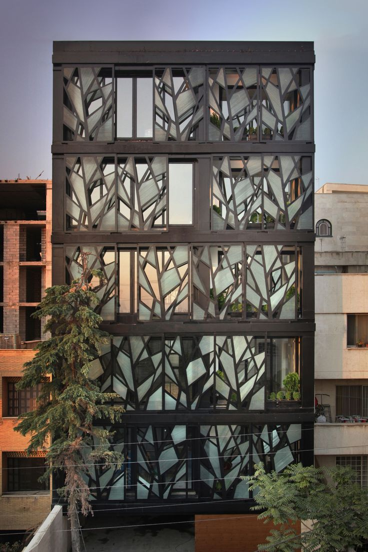 Danial apartments in Tehran by Reza Sayadian and Sara Kalantar. This extraordinary apartment block is designed with a facade of 20 tree-inspired panels. The panels on each floor are installed on two rails which can be moved manually, providing infinite choices to the resident who can control the panels from inside.