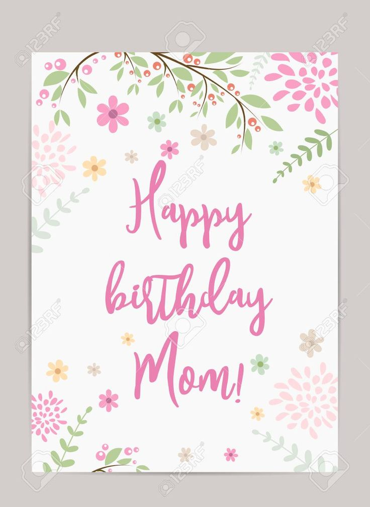 Happy Birthday Mom! Holiday Background. Template For