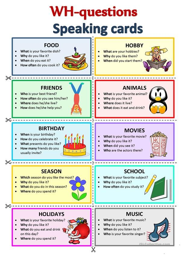 WH-Questions Speaking Cards Speaking Activities English, English  Activities, English Language Teaching