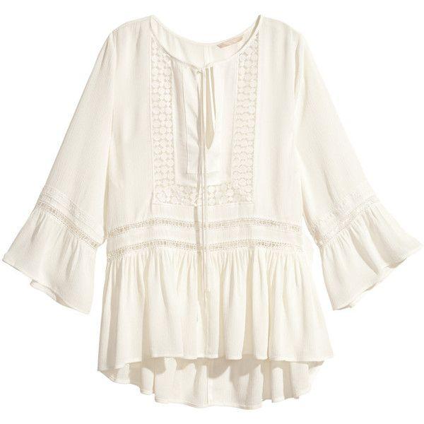 H&M Crêpe blouse (385 SEK) ❤ liked on Polyvore featuring tops, blouses, shirts, boho, h&m, white, white ruffle shirt, white tie shirt, white blouse と white 3/4 sleeve blouse
