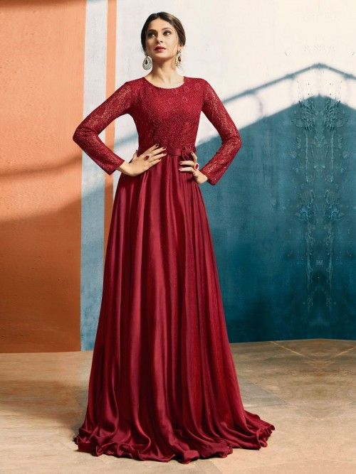 1d5a60b728 Spread the aura of freshness with this bollywood diva jennifer winget style  maroon shaded jacquard and satin silk gown suit showing a touch of  sensuality.