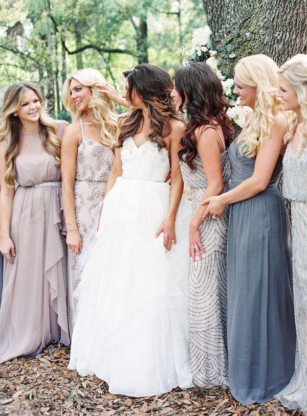 Mix n' match 'bridesmaid dresses / http://www.deerpearlflowers.com/mix-n-match-bridesmaid-dresses/