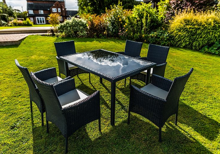 Kingfisher Black 7 Piece Rattan Effect Outdoor Garden Dining Furniture Set ** Learn more by visiting the image link. #GardenFurnitureandAccessories