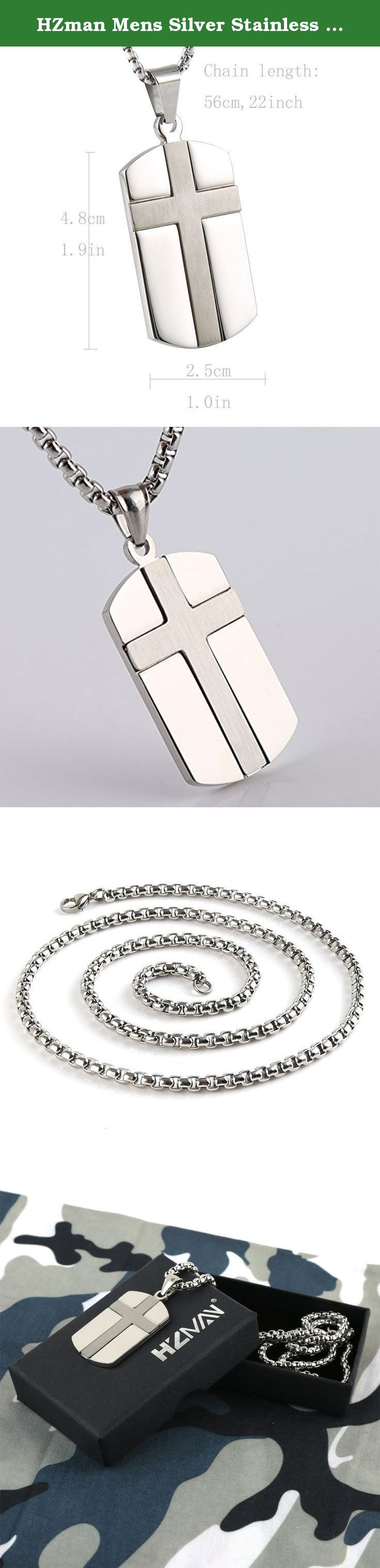 HZman Mens Silver Stainless Steel Cross Dog Tag Pendant Necklace Rolo Cable Wheat Chain. 90 DAY MONEY BACK GUARANTEE-100% satisfaction guaranteed. That is our promise. So, if you're not completely happy with your purchase within the first 90 days, just let us know. We will do whatever it takes to make it right Provide The Best Quality jewelry and Customer Service on Amazon. Why choose Stainless Steel Jewelry? Stainless Steel jewelry does not tarnish and oxidize, which can last longer than...