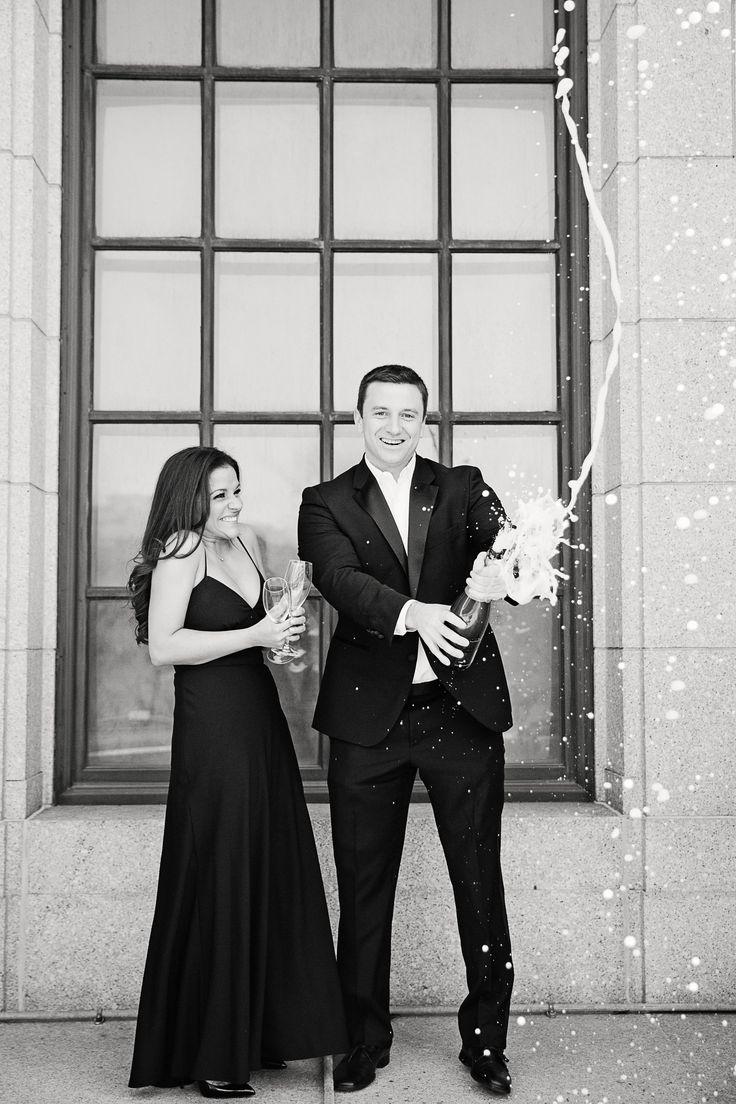 Black dress engagement photos - Engagement Photo Ideas Popping Champagne Classic Formal Www Carlymichelleblog Com