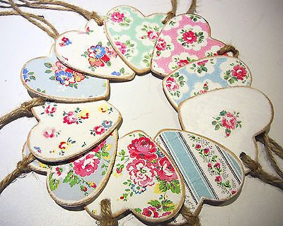 Chic Wooden Handmade Hanging Hearts - Cath Kidston Decoupage - gift tags etc.