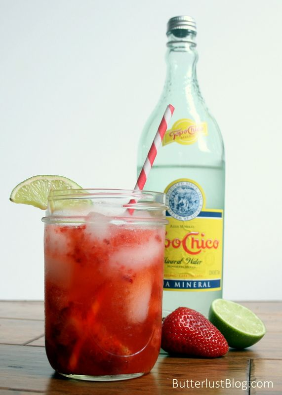 STRAWBERRY FIELDS SMASH:       3-4 large strawberries, chopped     2 oz vodka     1 tsp lime juice     2 tsp simple syrup     Topo Chico, or sparkling mineral water of your choice