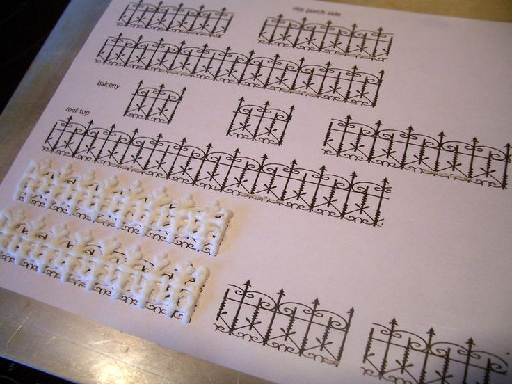 White chocolate wrought iron fence for gingerbread house, template and instructions.  Great for a Victorian look.