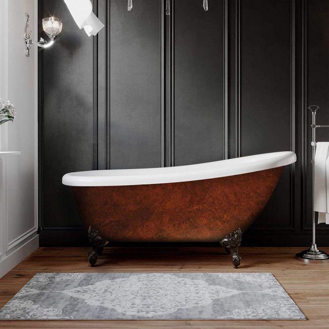 67 Inch Acrylic Slipper Clawfoot Tub Copper Miller Slipper