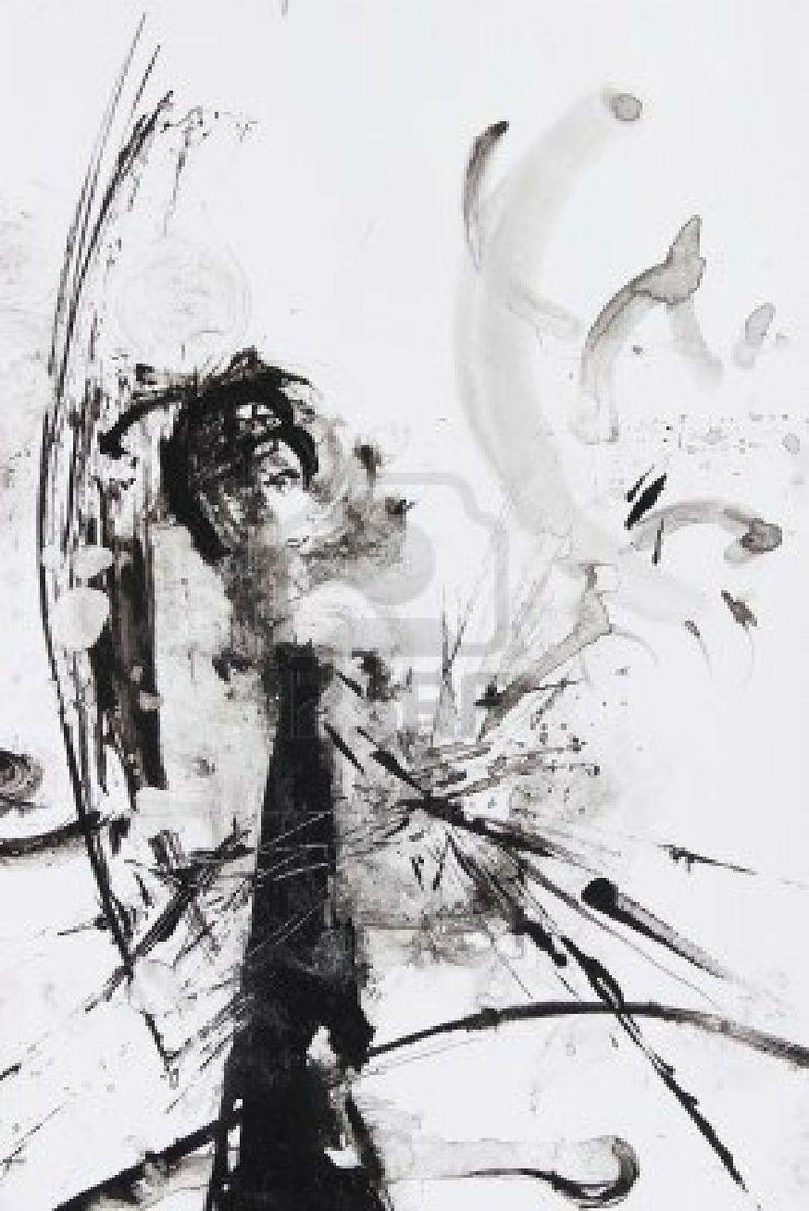 Schwarz-Weiß-abstrakte Malerei Pinsel