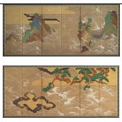 1906: Freer acquires a pair of six-fold screens by Tawaraya Sōtatsu from Kobayashi Bunshichi, an art dealer from Tokyo. Depicting pine-covered islands, it is considered the finest pair of Japanese screens in the Freer Gallery.  Waves at Matsushima; Tawaraya Sōtatsu 俵屋宗達 (fl. ca. 1600–1643); Japan, Edo period, 17th century; screens (six-panel, pair), ink, color, gold, and silver on paper; Gift of Charles Lang Freer; F1906.231–32