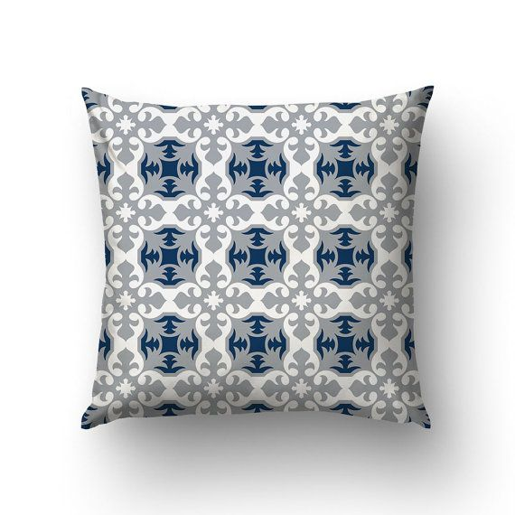 French Country Decor Blue And Gray Pillow by Macrografiks on Etsy