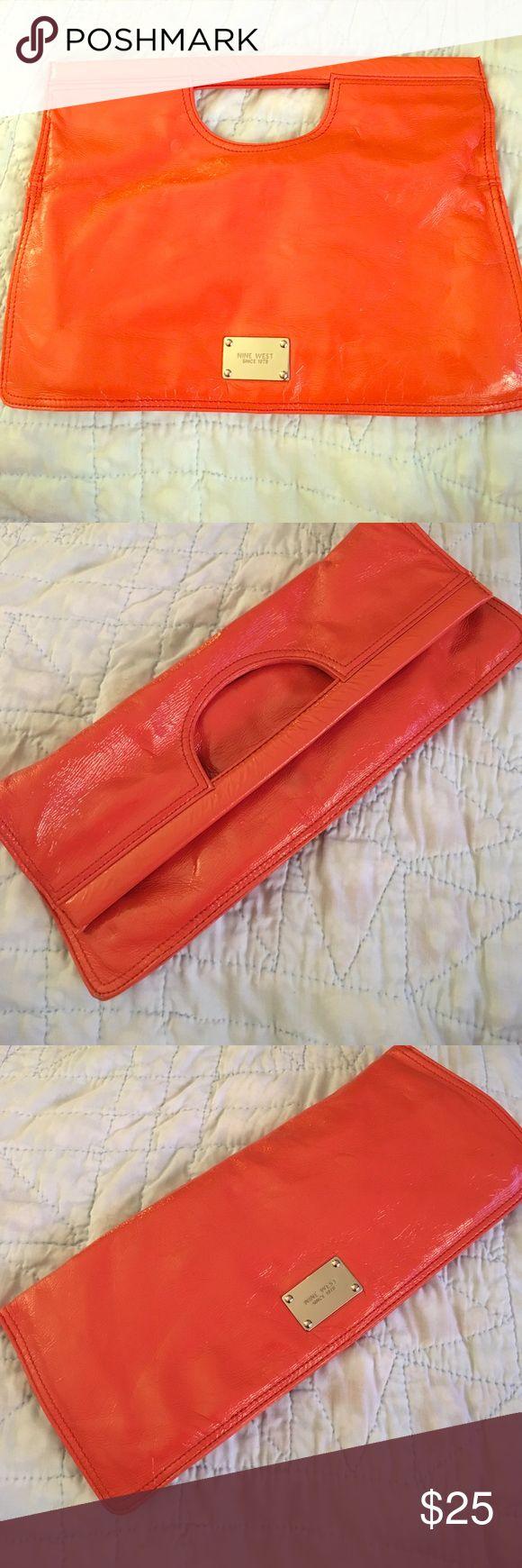 Orange foldover clutch! Nine West orange foldover clutch patent finish Nine West Bags Clutches & Wristlets
