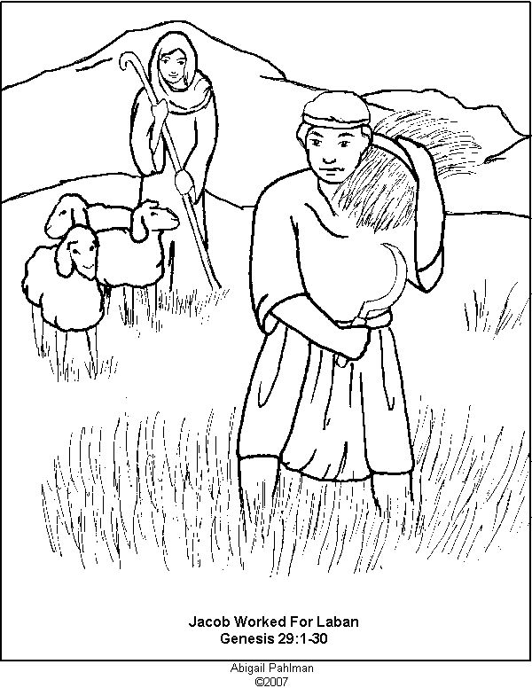 Jacob and Rachel Activity Sheets | Jacob worked for Laban coloring page Genesis 19 verses 1-30