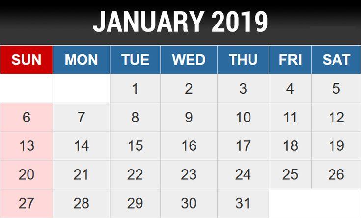 January 2019 Editable Template #JanuaryCalendar #January2019Calendar