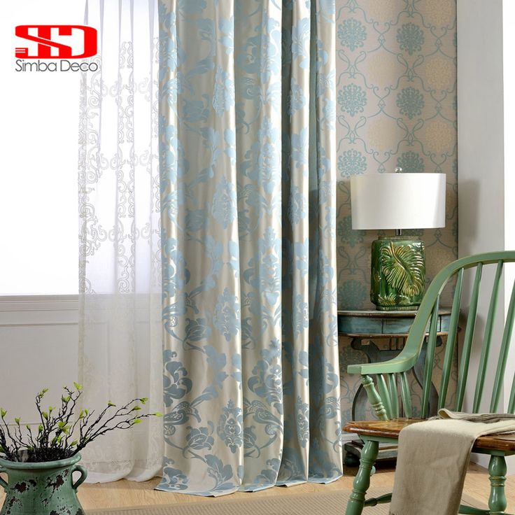 Fabric European Blackout Curtains For Living Room Jacquard Damask Blue Luxury Drapes Bedroom Kitchen Blinds
