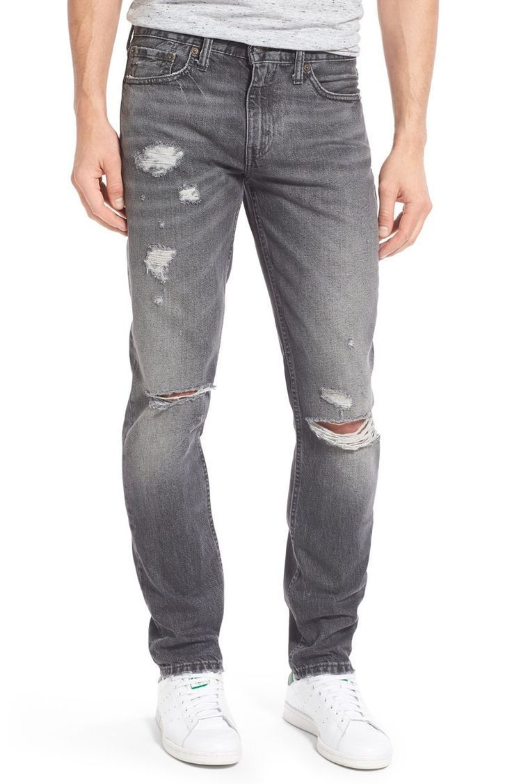 follow me @cushite Levi Slim Fit Open Grey Ripped Jeans for Men This Fall 2016 to winter 2017