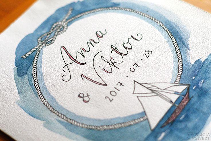 Bröllopskort med segelbåt och marint tema, akvarell och tusch av Alicia Sivertsson.