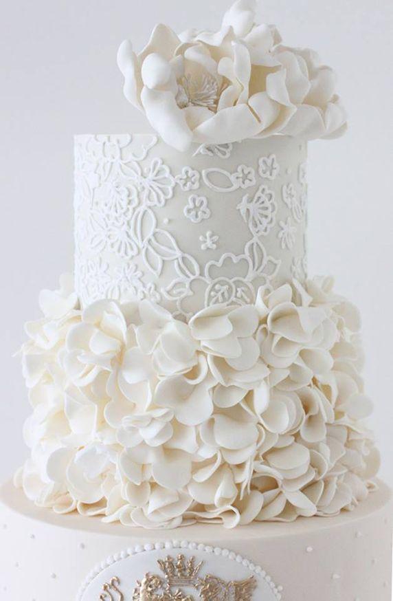 White Petals Bottom Tiered Wedding Cake