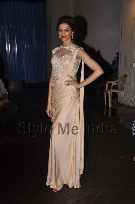 Deepika Padukone in a Sonaakshi Raj http://sonaakshiraaj.in/ Couture Saree Gown on the sets of Indian Idol