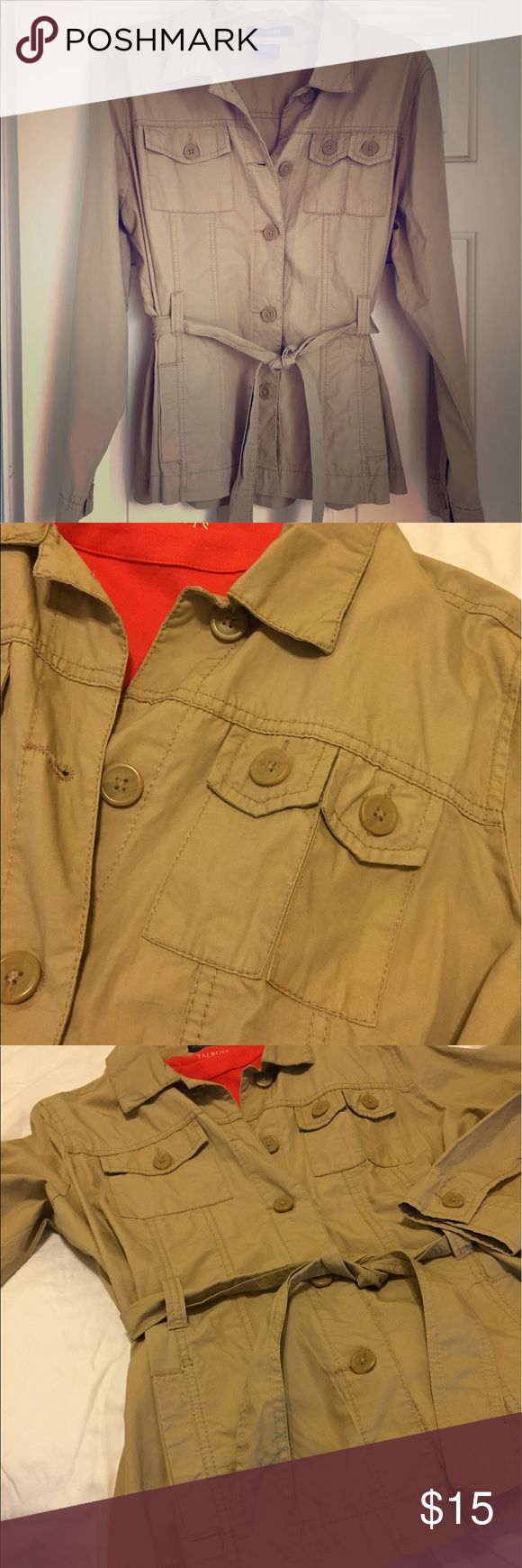 Lightweight khaki utility jacket from French Cuff Versatile belted jacket. A staple for every wardrobe. French Cuff Jackets & Coats Utility Jackets