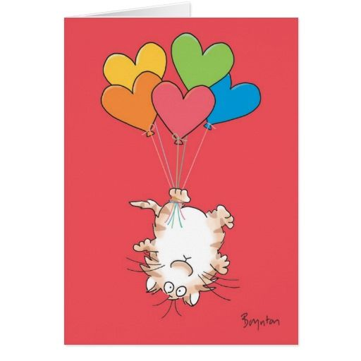 UPSIDE-DOWN CAT Valentines by Boynton. Día de los enamorados, amor. Valentine's Day, love. #ValentinesDay #SanValentin #love #postal #greeting #card