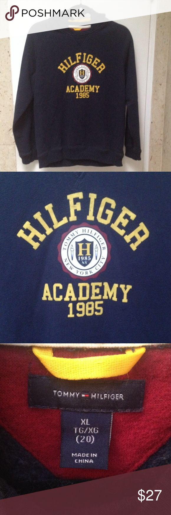 Tommy Hilfiger navy hoodie sweatshirt XL (20) Tommy Hilfiger navy hoodie sweatshirt XL (20) with Tommy Hilfiger New York City Academy 1985 in the front and 5 in the back Tommy Hilfiger Shirts & Tops Sweatshirts & Hoodies