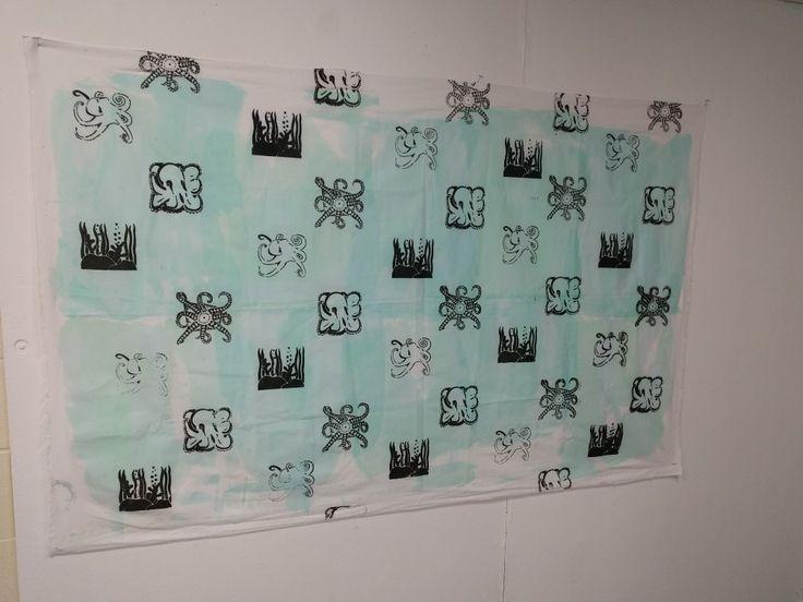 Screen printed octopus fabric