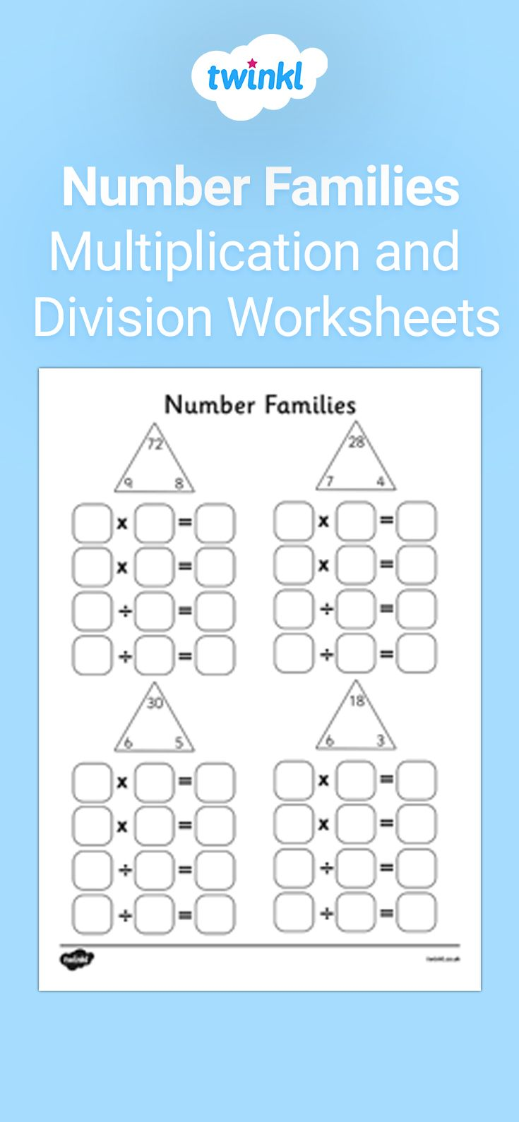 Number Families Multiplication And Division Worksheet Multiplication And Division Multiplication And Division Worksheets Fact Family Worksheet Division worksheet year twinkl