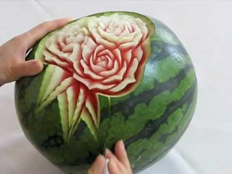 January 9 Honeydew Flower Fruit Carving - YouTube