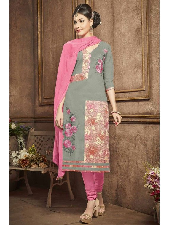Remarkable Grey and Pink Printed Salwar Kameez