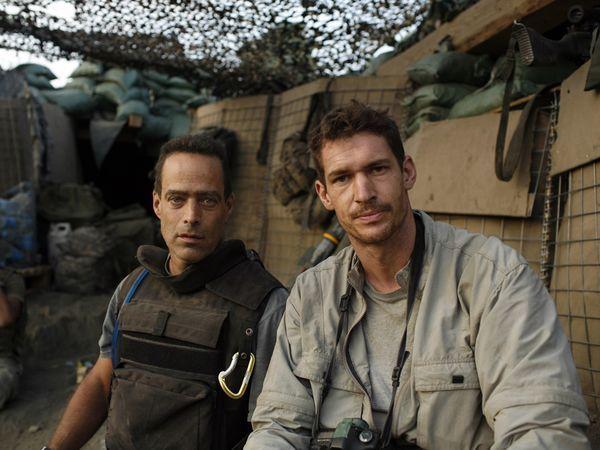 RESTREPO filmmakers Sebastian Junger and Tim Hetherington in the Korengal Valley, Afghanistan, 2007